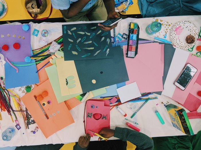 Children producing artwork